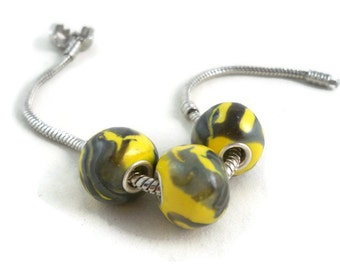 Large hole european style beads yellow and gray with silver plated grommets set of three