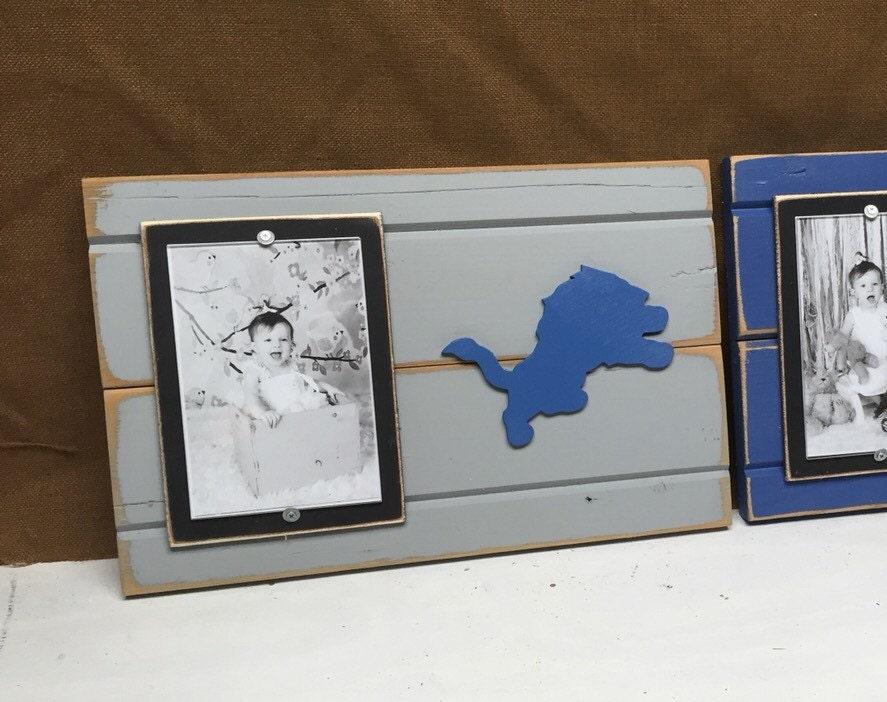 detroit lions picture frame holds 4x6 photo decor by. Black Bedroom Furniture Sets. Home Design Ideas