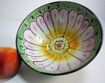 Ceramic Serving Bowl - Pottery Bowl - Zinnia Flower - Medium Serving Bowl - Majolica -  Lavender Purple Orange on Green