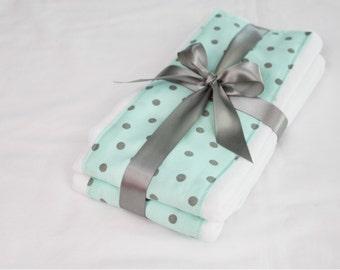 Aqua and Grey Polka Dot Burp Cloths - Set of 2
