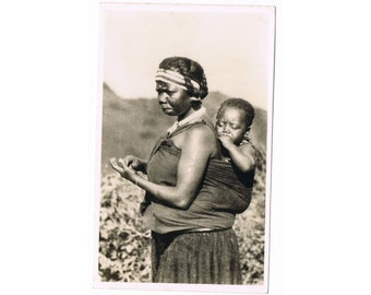 Vintage South Africa Postcard - Mother with Baby - Ethnical