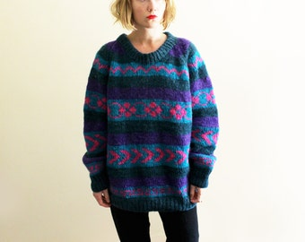 vintage sweater 80's handknit wool geometric hippie purple green 1980s womens clothing size l xl extra large