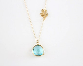 Something New and Blue Necklace - Gold - SALE