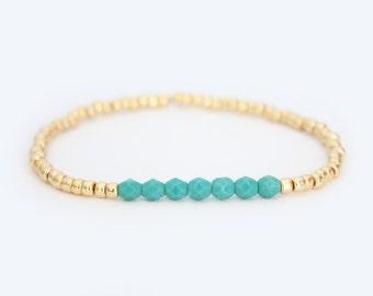 Turquoise and Gold Beaded Bracelet - Navi