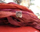 Sari Silk Recycled Chiffon Ribbon Sunset Shades Blend