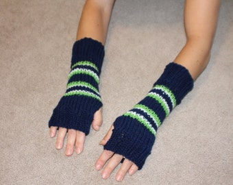 Seattle Seahawks  NFLTeam Colors Fingerless Gloves One Size Fits All-Mittens-texting gloves-gift ideas