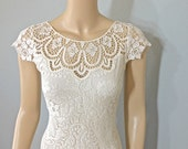 RESERVED Amber Vintage Lace Wedding dress BOHEMIAN Wedding Dress CREAM Lace wedding Dress Cap Sleeves, Plunging Back Sz Small