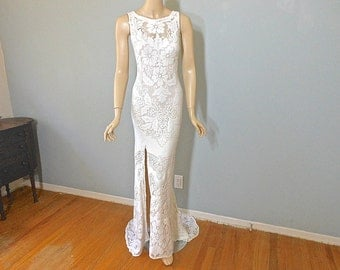 Cream Lace Backless Bohemian Wedding Dress SIMPLE Wedding Dress w Slit Sz LACE Wedding Dress sz Large