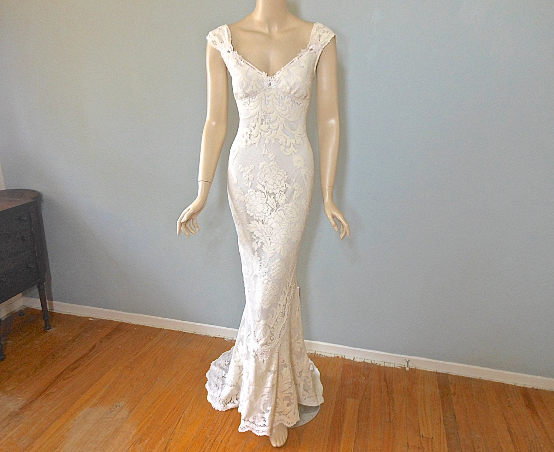Bohemian mermaid lace wedding dress vintage inspired boho for Bohemian mermaid wedding dress