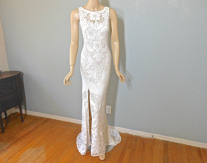 Cream Lace Backless Bohemian Wedding Dress SIMPLE Wedding