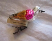 vintage blown glass BIRD ornament - Czechoslovakia - clip on