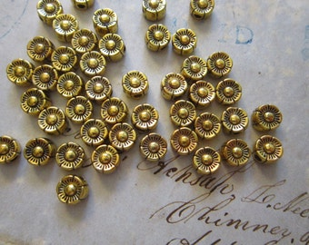 50 metal flower beads - gold  tone - 5mm - spacer beads