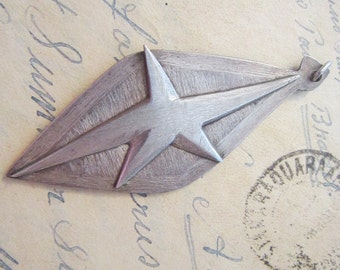 vintage handmade pendant - STAR pendant, celestial abstract