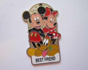 salvaged keychain charm - Mickey Mouse, Minnie Mouse - Disneyland metal and enamel