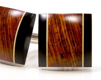 Cocobolo Ebony Holly Cuff Links - Custom Wood Cufflinks - Gifts For Him, Groomsmen Gifts, Anniversary, Wedding, Fathers Day