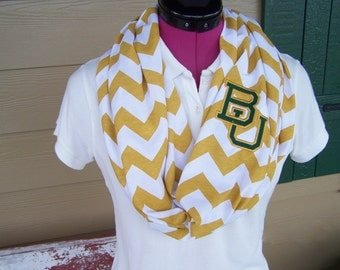 Baylor University Gold and White Chevron Infinity Scarf