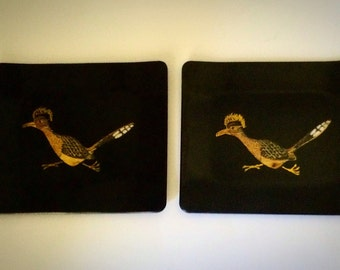Vintage 1960s Mid Century Couroc Trays Roadrunner Bird Inlay Tray Duo Pair