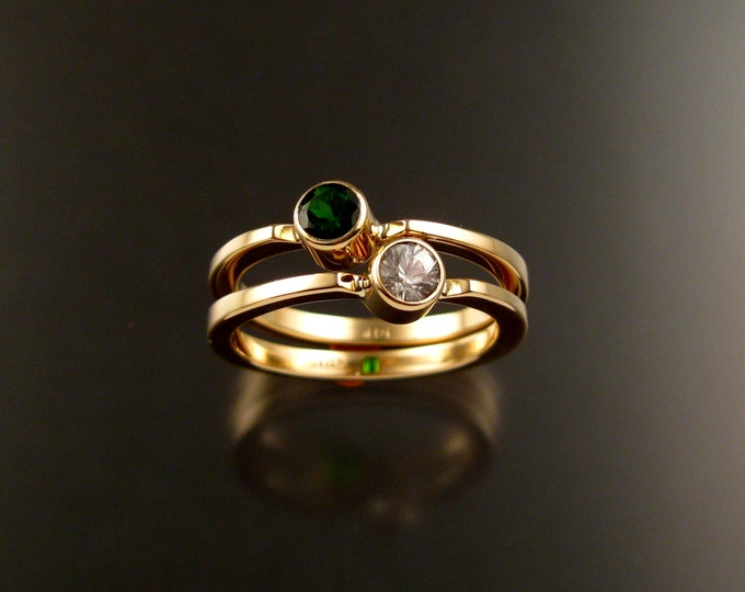 Stackable Mothers ring set of two 14k Yellow Gold natural Birthstone rings Made to order in your size