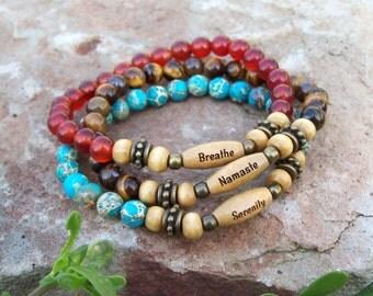 3 Stack stretch bracelets, Breathe Namaste Serenity, Yoga Bracelets, Mantra bracelet, gemstone bracelets