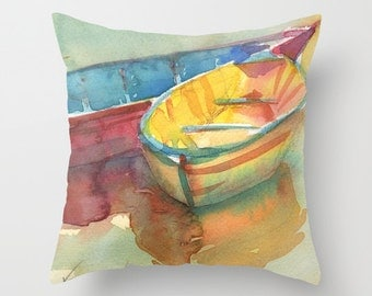 Little Yellow Boat Throw Pillow Cover