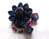 Star Foundry Blue and Pink Kanzashi Dice Flower Hair Clip