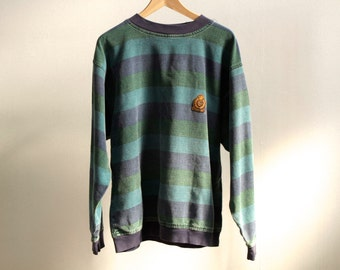 VINTAGE structure oxford crest crew neck STRIPED sweatshirt