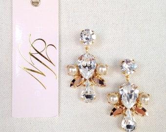 ARIA- Rose Gold Crystal Drop Earrings- Swarovski Bridal Earrings- Rose Gold Crystal Earrings- Chandelier Bridal Earrings