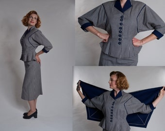 Vintage 1940s New Look Suit Cape - Navy Blue Gabardine Checkered Wool - Fall Fashions