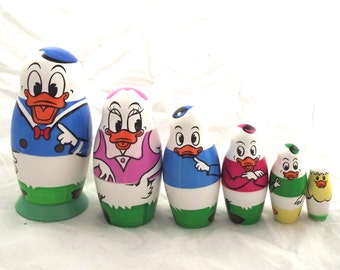 Donald Duck Nesting Dolls Set, Vintage Plastic Disney Collectors Item, Made in Germany (E2)
