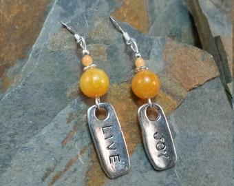 Orange Live Joy Sterling Silver Earrings, Live Joy Orange Dangle Sterling Silver Earrings, Silver Joy Earrings