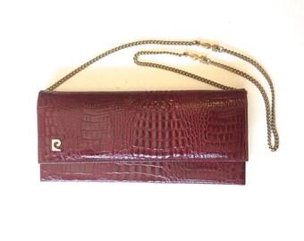 60s Alligator Leather Purse | Maroon Red Wine Shoulder Bag Evening Bag