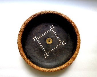Indonesian Moluccas Antique Bowls Wooden Carved Bowl Mother Of Pearl Inlaid Free Shipping Abalone Shell Black Wooden