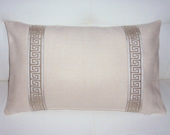 SALE 20x12 Beige Linen Greek Key Lumbar Pillow Cover - Purchase With Or Without Pillow Form