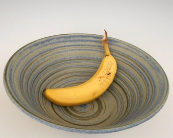 Hand thrown blue stoneware salad or fruit bowl
