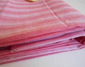 Vintage Red Thin Stripe Shirting Fabric  yardage - reversible SOLD by the yard
