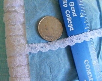 """96 meters of tiny polyester trim. Edging is 1/4"""" wide. Perfect for dolls."""