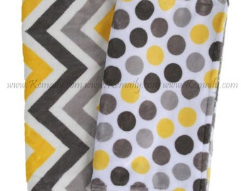 Yellow Grey Chevron and Polka Dot Minky Burp Cloth - Baby Shower - Gift - Burp Rag, Feeding - Nursing - Essentials - New Mom - Burp Cloths