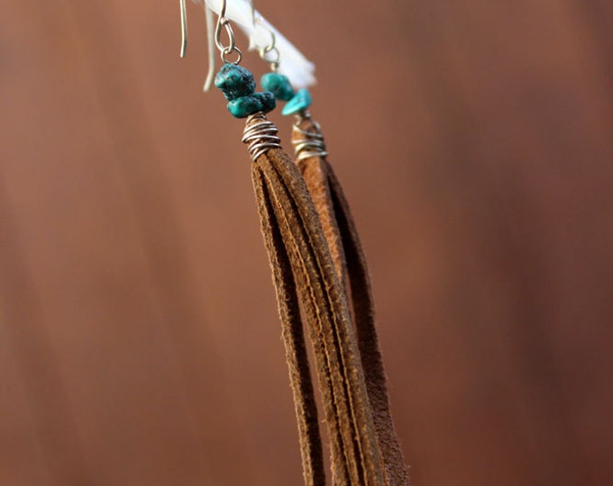 Turquoise and Suede Dangling Earrings