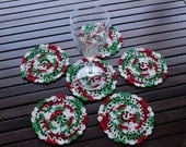 Set Of Six - Doily - Coasters In Christmas Colors - Home Decor - Elegant Houseware - Doilies In Xmas Color