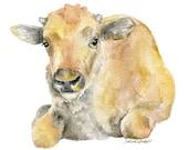Buffalo Calf Watercolor Painting- 5 x 7 - Nursery Art - Giclee Print - Baby Animal Art