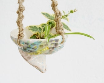 SALE - Quirky handmade hanging ceramic planter
