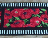 "Large Poppy-19"" X 63""-Handmade-Quilted-Window Panes-Table Runner-Made in USA by MJ Quilts-Free Shipping within USA"