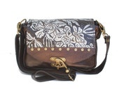 Mini Leather Messenger Bag in Dark Brown with Wildflower Print