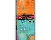 Abstract Contemporary Art on wood. 12x36 painting mixed media art