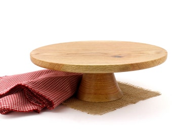 "Wooden 12 1/2"" Red Oak Cake Stand / Pedestal Cake Plate /Cupcake Stand"