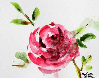 Pink Rose ORIGINAL flower watercolor sweet little 4x6 watercolour Lovely art piece interior decor