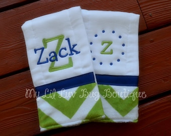 Personalized Burp cloth set prefold diaper- midnight blue with jade green and white chevron print- set of two