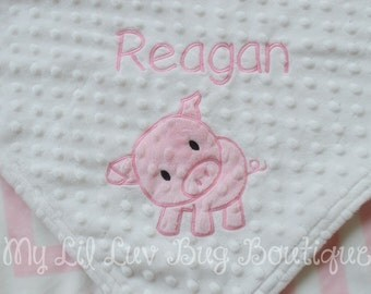 Personalized baby blanket- white and blush pink chevron baby pig- 30x35 stroller blanket