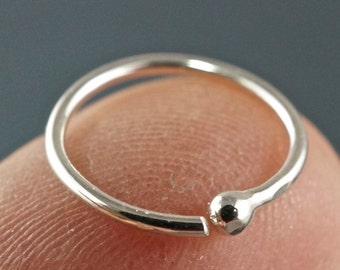 Tiny Silver HOOP earring . 18g SINGLE Earring. Sterling Silver Argentium Sterling Septum. Cartilage. Child. Nose. Sleeper