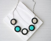 Geometric Wood Necklace - Fifth Anniversary Gift, Turquoise, Statement Jewelry, Creamy White, Taupe, Tan, Modern, Contemporary